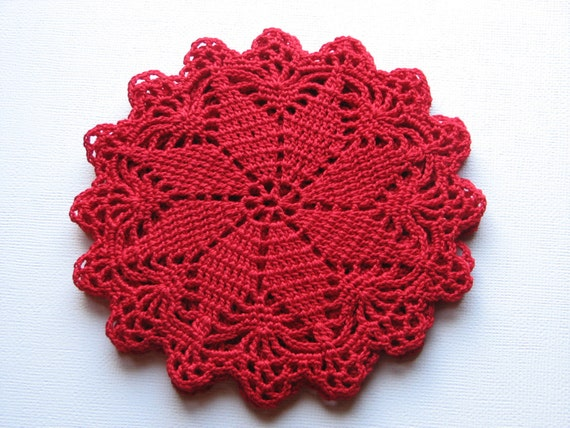 Crochet Glass Doily, Coaster, Red, Set of 6