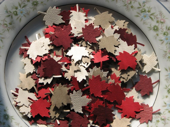 500 Hand Punched Maple Leaf Confetti, Die Cut Punch Embellishment