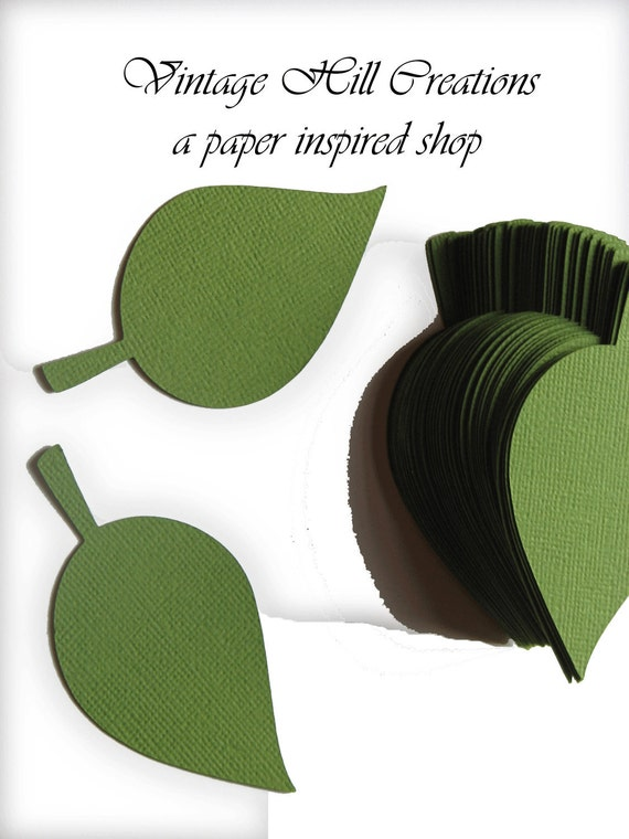 200 -4 inch- Paper Leaf -apple Leaves- Hillary Green - Wedding Place Cards, Escort Cards, Leaf Die Cut