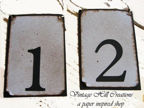 Wedding Table Numbers -Custom - Vintage Black and Ivory