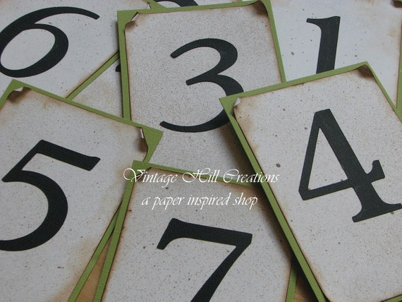 Wedding Table Numbers -Custom - Vintage Parakeet Green and Ivory