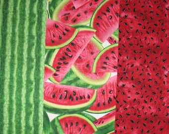 Timeless Treasures Watermelon Fabric, 1/4 yard each of Rind, Slices, and Seeds