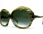 70's Vintage French Candy Stripe Round Frame Sunglasses