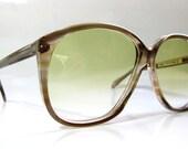 80's Vintage German Metallic Brown Square Frame Sunglasses