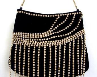 Late 90s Deadstock Evening Bag Handbag - Retro Black Velvet Bag with Bling Bling Rhinestone Fringe