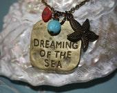 Aqua Coral Starfish Necklace