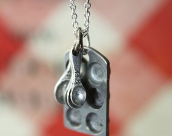 Cupcake Necklace - Baking Pan and Tiny Measuring Spoons on a Sterling Silver Plated Chain
