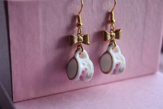 Tea in The Garden Porcelain Teacup with Bow Earrings