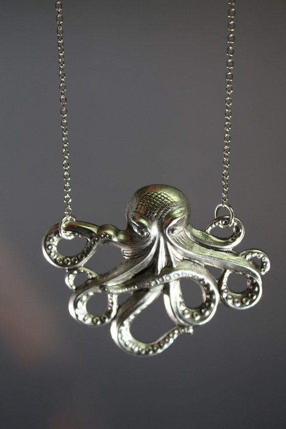 The Little Silver Octopus Necklace