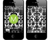 Personalized iPhone Wallpaper- Black Damask