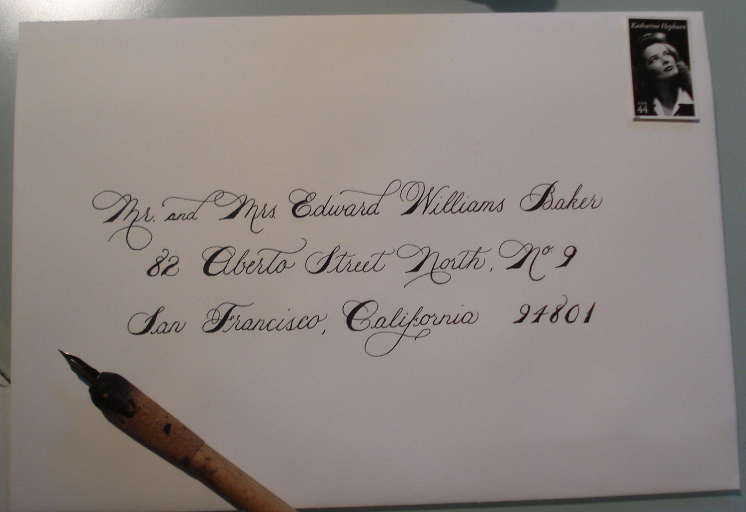 Wedding envelope calligraphy betsy font by