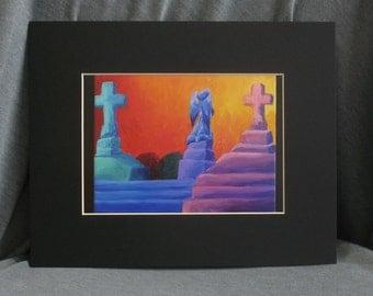 Cemetery Scene - 5 x 7 PRINT with 8 x 10 Black Matte