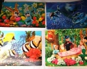 4  HUGE 3 D Vintage POSTCARD's Collection  Tropical FISH, Spaceman,Easter Bunny and Snow White and 7 Dwarf's