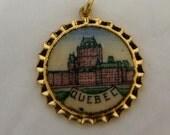 6  Vintage Round Quebec enameled Souvenir creast's 20 mm, 1960s NOS