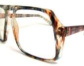 AMAZING large lens Multi colored  Vintage Eyeglasses Mens 1970s Non prescription lens intact