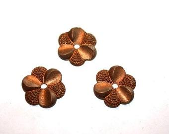 Antique Brass 6 Petal Flower 14mm - 3 Pieces