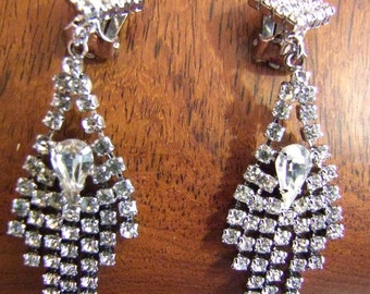 Vintage Rhinestone chandelier  earrings ,new old stock,60s 70s Mint