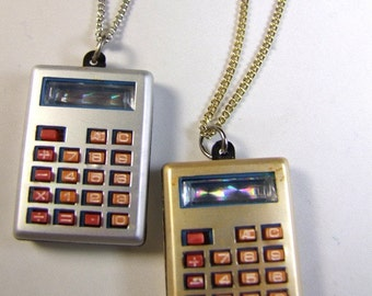 Vintage 1970s Gold Calculator Necklace New Old Stock  GOLD ONLY