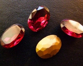 11x16 mm Vintage Rhinestones Ruby Red, Czech 1950s 6 pieces