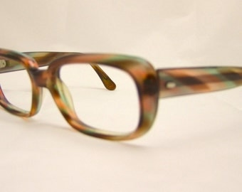 60s Women's Eyeglasses Vintage 1960's Multi Colored Tortoiseshell Frames