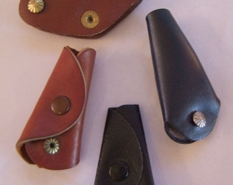 4 assorted Vintage Leather Key Holders circa 1950s New old stock