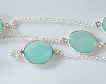 1 foot Stunning Peru Chalcedony and Sterling Silver hand made Bezel Gemstone Chain