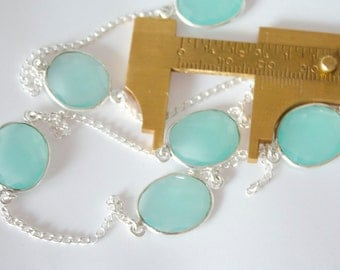 SALE 10 Feet Stunning Peru Chalcedony and Sterling Silver hand made Bezel Gemstone Chain