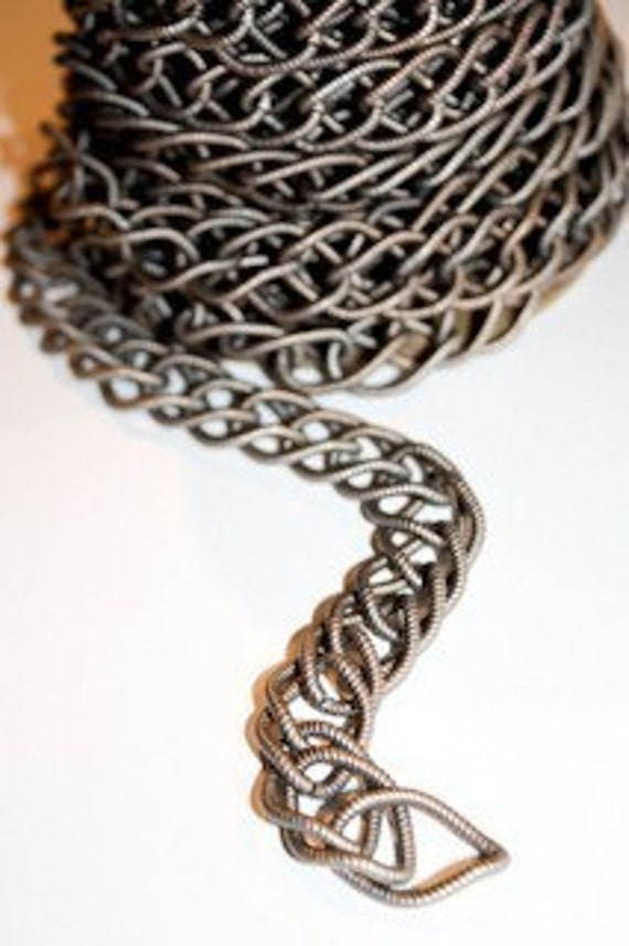 Vintage Chain - Steel Textured Double Curb, 3 feet LARGE LINKS RARE
