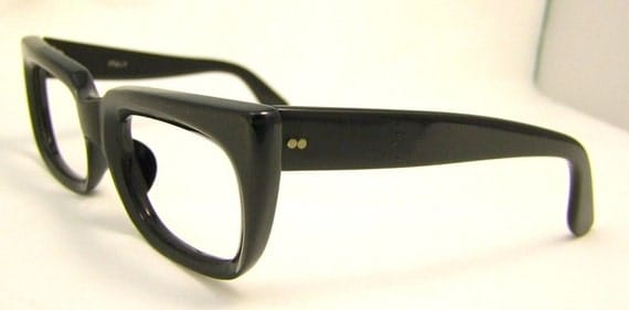 Unisex Black and Dark Bronze  Geekery Vintage EYEGLASSSES  1950s 1960s  Italy