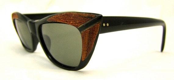 Sale Faux Alligator , Rare 1950S Cateye   Eyeglasses France Ray Bert Brand