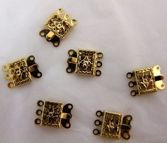 12  Gold plated Filligree Vintage Push Clasps 1960s triple  strand