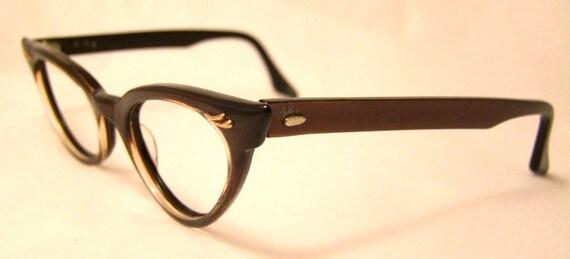 1950s Brown / Bronze Cat Eye Frames // Can Opt Brand // Marilyn Monroe Style