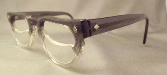 UNUSUAL 1960S Geekish  Unisex Eyeglasses  Two Tone  with half lens,Vintage