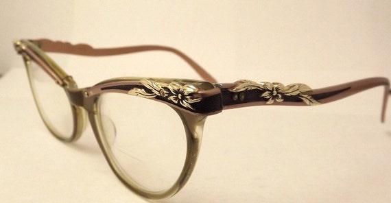 STUNNING   Cats eye glasses  1950s , Marine Brand  USA Muted Copper