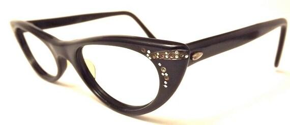Black 1950s  Catseye Eyeglasses  frames uoc  Optical USA