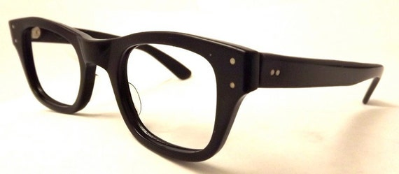 G Man Geekish Black Eyeglasses 1950s 60s Buddy Holly watch out,Bausch and Lomb Brand
