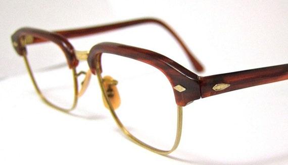 1950s  Mens or unisex Clubmaster style  Eyeglasses 12 k gold filled Excellent
