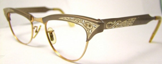 Cats Eye glasses 1950s eyeglasses STUNNING ,American Optical  Brand USA 12 karet Gold Filled