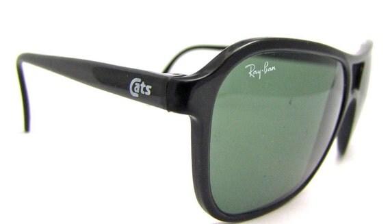 RARE Ray-Ban CATS Black Nylon Aviator Sunglasses France 1980s