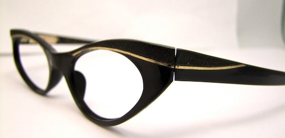 Black Cats by Swank,Cats eye  Eyeglasses,  Swank brand, FRANCE 1950s New old stock.