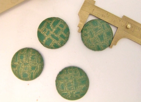 4 Large  Flat back  CABOCHON BUTTONS 1950s 1960s  28 mm Green and Gold color