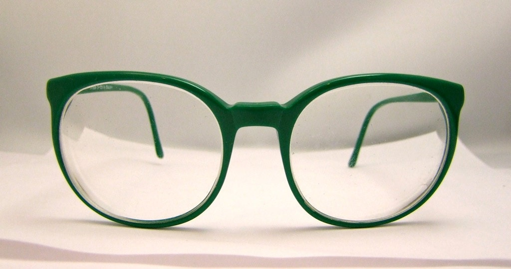 1960s round green clear eyeglasses eye glasses eyeglass frames vintage sunglasses sun glasses optical frame retro eye wear bug eye preppy eyeglasses