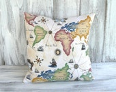 World map pillow in vibrant color and Italian script - global awareness for home decor, designer stuffed throw cushion - great for gifts