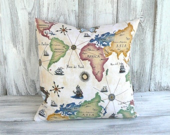 RESERVED: World map pillow in vibrant color and Italian script - global awareness for home decor, designer stuffed throw cushion