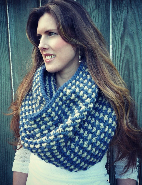 SALE Scarf cowl knitted navy blue and camel tan - fashion accessory for women