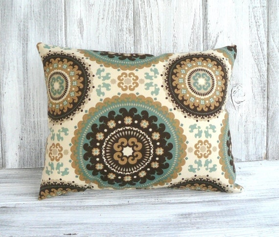 Bohemian throw pillow with ornate circles in brown, green and cream - stuffed designer cushion for home decor