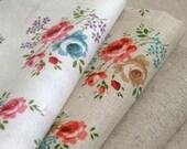 Excellent Romantic Shabby Floral Linen WIDE Fat Quarter Set of 2, U1967