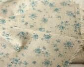 SALE, 3 Yards of Pretty Blue Petit Roses on Linen blended Wide 140cm, U2178