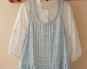 SALE, A Yard of SKY Reverse Check and Gingham Double Gauze Wide 150cm, U2398