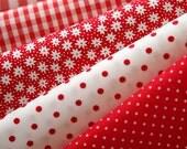 Vivid RED Floral, dots, and check Cotton fat Quarter Set of 5, U2439